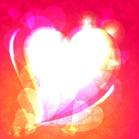 Hearts, speech bubble, ornamental background. Stock Vector - 11383855