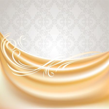 sateen: Beige curtain, silk tissue on gray background
