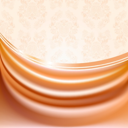 Peachy curtain, silk tissue on beige background Vector