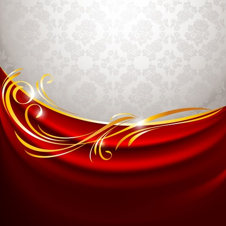 Red fabric curtain on gray background Vector