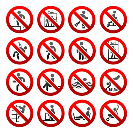 clambering: Prohibited signs Set icons
