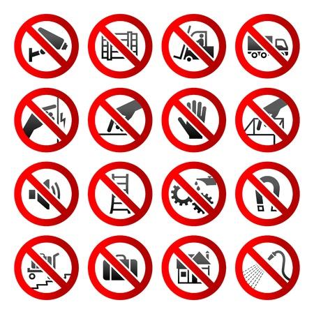 prohibido: Iconos conjunto prohibidos los s�mbolos signos de peligro Industrial Vectores