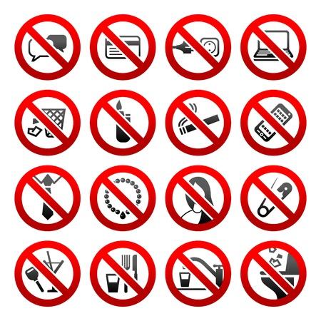 prohibido: Iconos conjunto prohibidos los s�mbolos Oficina signos negro Vectores