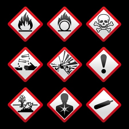 New safety symbols Hazard signs Black background Vector