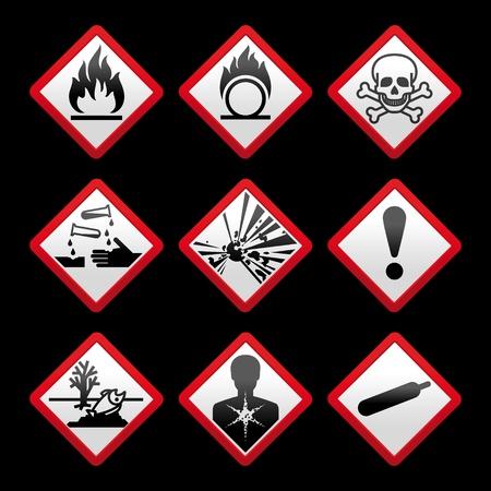 Nieuwe veiligheidssymbolen Hazard tekenen Zwarte achtergrond