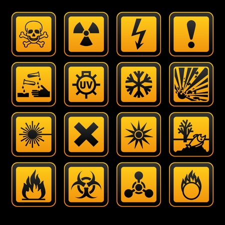 general warning: Hazard symbols orange vectors sign, on black background