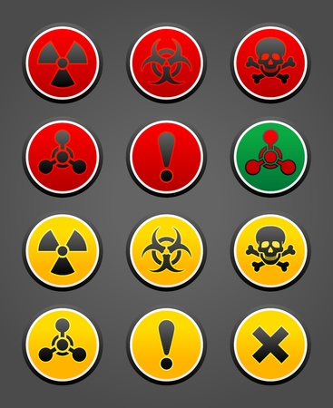 ionizing: Set symbols hazard Safety sign Illustration