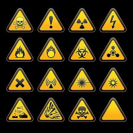 señales preventivas: Conjunto triangular las señales de advertencia de peligro símbolos. vector