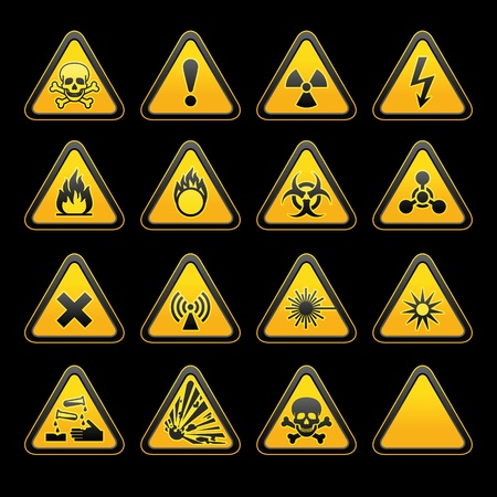 high voltage sign: Set triangular warning signs Hazard symbols. vector