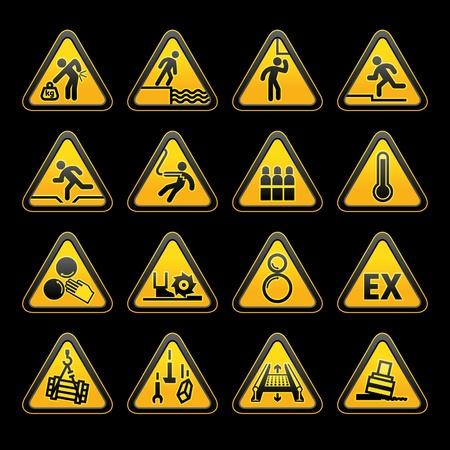 high detail: Set Triangular Warning sumbols  Hazard signs