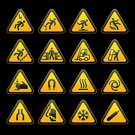 high voltage sign: Set simple triangular warning symbols Hazard Signs