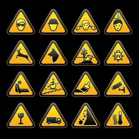 rockfall: Warning symbols Safety signs set. Vector