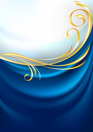 Blue fabric curtain, background Vector