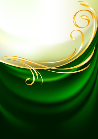 Green fabric curtain, background Vector
