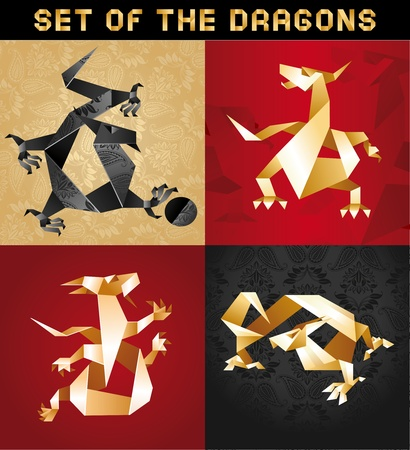 Set Dragon Origami, folded paper, vector design Vector
