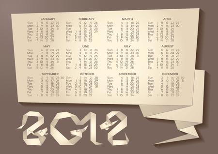 Calendar - Dragon Origami 2012 Year Vector