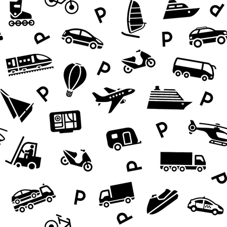 closed parking: Seamless background transport icons Illustration