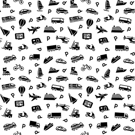 closed parking: Seamless background, transport icons, wallpaper