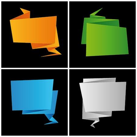folded paper: Origami, folded paper, set speech bubble