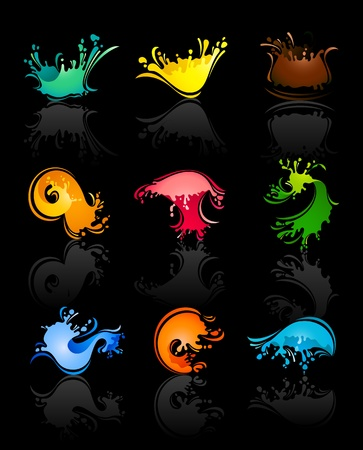 mildew: Splash colors Waves and Water with reflection Illustration