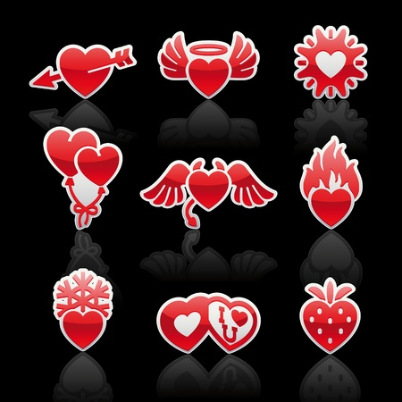 set icons of Valentine's day red hearts Stock Vector - 11675066