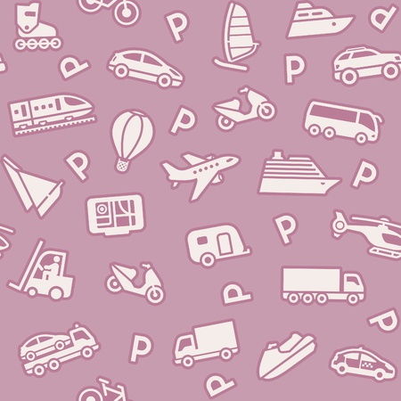 closed parking: Seamless background, transport icons, wrapping paper Illustration