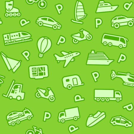 Seamless green background, green transport icons Vector