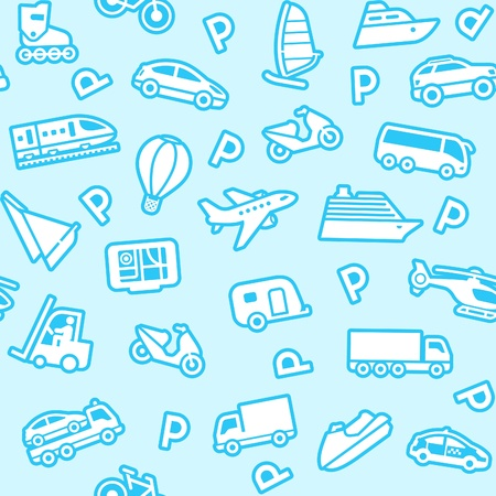 Seamless blue background, white transport icons Vector
