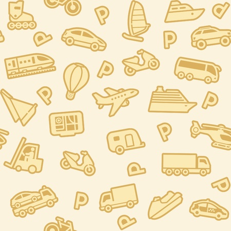 Seamless background, gold transport icons Vector