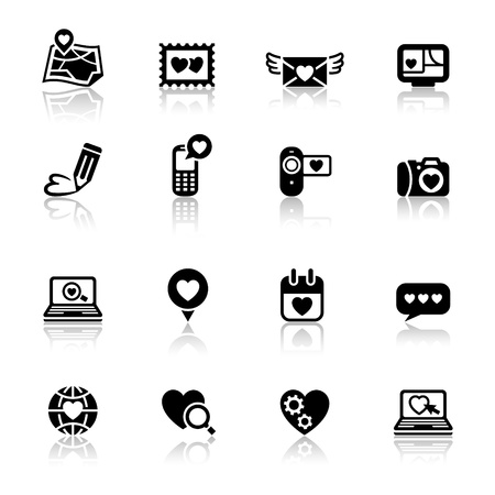love declarations: Set valentines day icons, love on the Internet signs Illustration