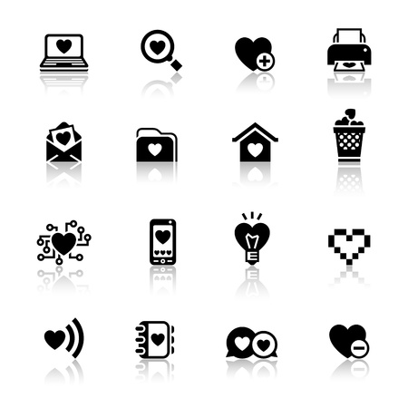 love declarations: Set valentines day icons, love on the Internet symbols