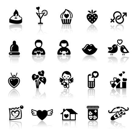 Set valentine's day icons, love romantic sign Stock Photo - 11996340