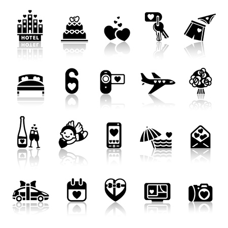 Set valentines day icons, romantic travel Illustration