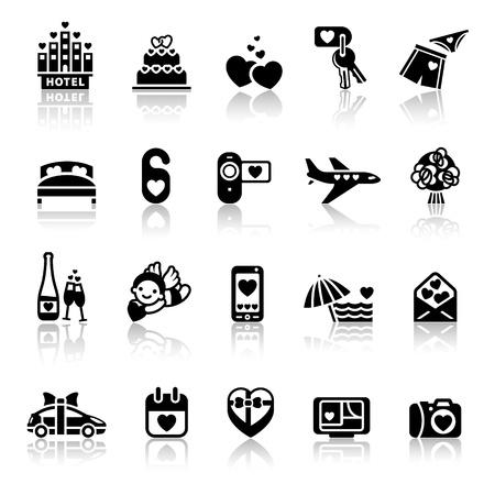 Set valentine's day icons, romantic travel Stock Vector - 11996342
