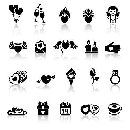 fire heart: Set valentines day icons, vector signs