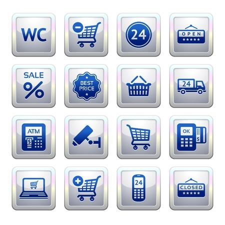 atm card: Pictogramas conjunto de servicios de supermercado, s�mbolos de Compras Vectores