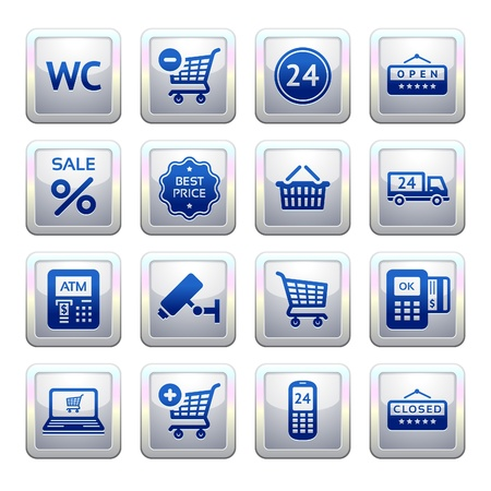 Set pictograms supermarket services, Shopping symbols Vector