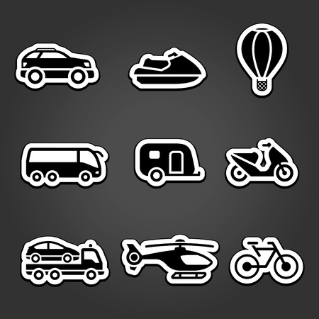 Set stickers transport icons Stock Vector - 12178504