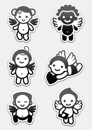 black baby boy: Stickers angels. set icons, collection cupids signs