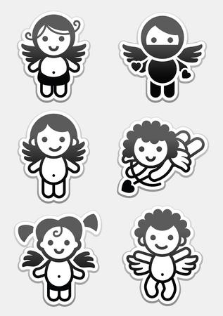 angeles bebe: Pegatinas cupidos. iconos conjunto, los �ngeles de recogida de muestras