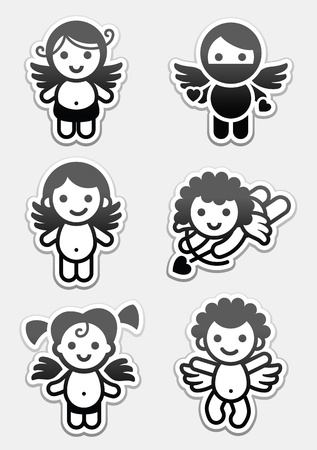 Stickers cupids. set icons, collection angels signs Vector