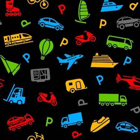 closed parking: Seamless background, colors icons transport