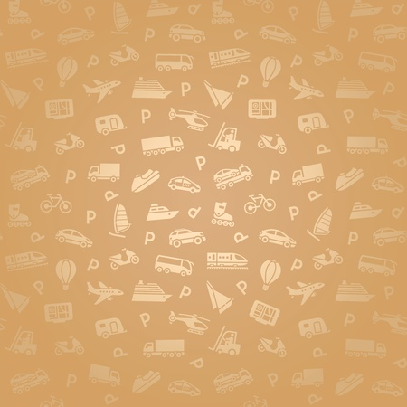 closed parking: Seamless transports white icons pattern, gold wallpaper Illustration