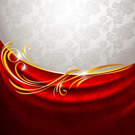 silky velvet: Red fabric drapes on gray background