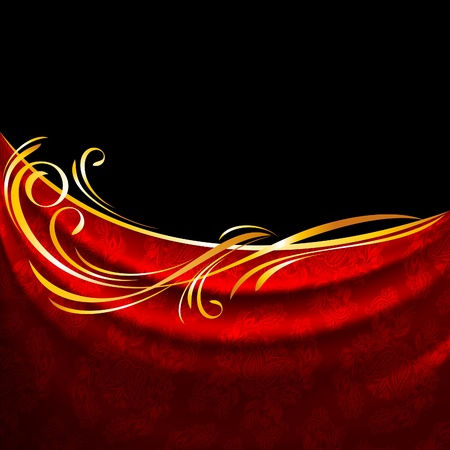 satiny cloth: Red fabric drapes on black background, gold vignette
