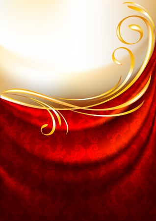satiny cloth: Red fabric curtain with ornament, background, Eps10