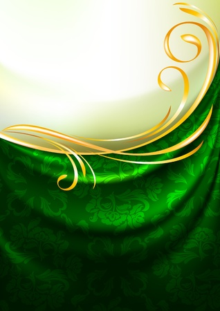 Green fabric drapes with ornament, background Vector