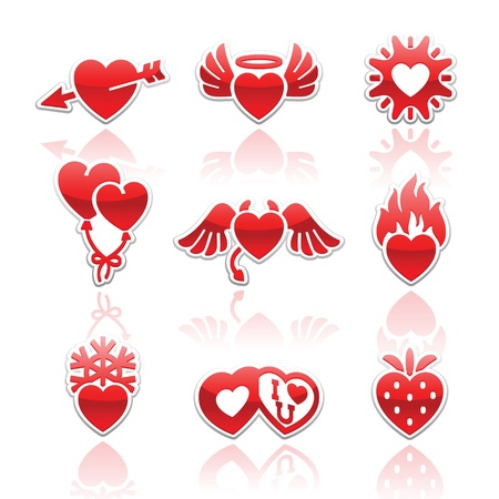 angel valentine: Set icons of Valentines day red hearts signs
