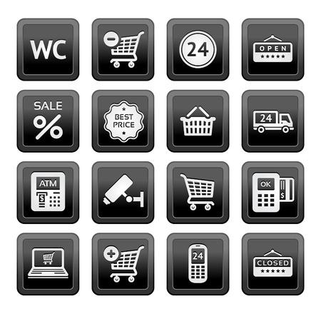 atm card: Establecer servicios de pictogramas de supermercados, los iconos de Compras Vectores