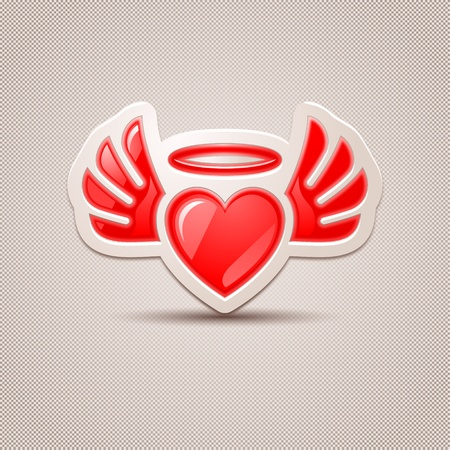 love declarations: Heart with wings, the icon for your design Illustration